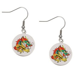 Ed Hardy Silvertone Dragon Drop Earrings