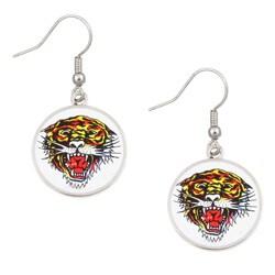 Ed Hardy Silvertone Tiger Dangling Earrings