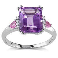 Miadora 10k Gold Amethyst, Pink Sapphire and Diamond Ring