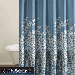 City Scene Branches French Blue Shower Curtain - Thumbnail 0