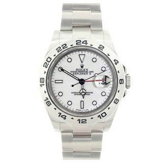 Pre-owned Rolex Men's Explorer II White Stainless Steel Watch Model 16570