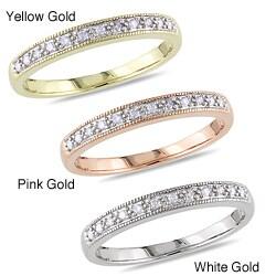 Miadora 10k White Gold 1/10ct TDW Diamond Wedding-style Ring