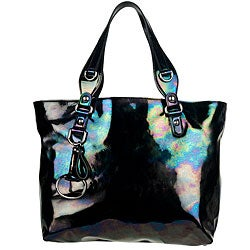 Gucci Icon Bit Black Iridescent Patent Leather Medium Tote - Thumbnail 0