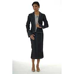 Divine Apparel Women's 3-piece Dressy Denim Skirt Suit - Free ...