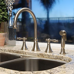 Fontaine High Arc Brushed Nickel Kitchen Faucet W Pullout Side Spray Overstock 4584647