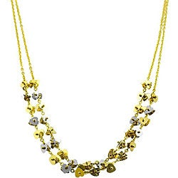 14k Two-tone Gold Double-strand Swirl Heart Necklace