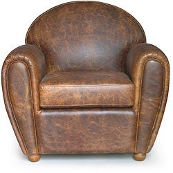 Classic Cigar-style Vintage Leather Club Chair - Thumbnail 0