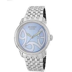 Roberto Bianci Diamond-accent Blue Mother of Pearl Dial Watch