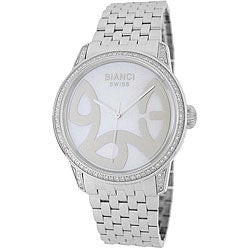 Roberto Bianci Diamond-accent White Mother of Pearl Dial Watch