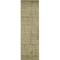 Garden Aubusson Floral Green Rug (2'3 x 7'6) - Thumbnail 0