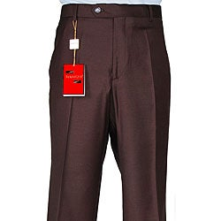 Men's Brown Wool Flat-front Dress Pants