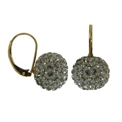 Gioelli 14k Yellow Gold 10-mm Black Crystal Ball Leverback Earrings