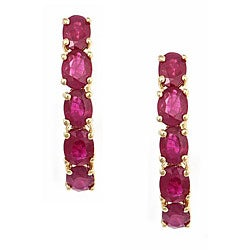 D'Yach 14k Yellow Gold Oval Ruby Hoop-style Earrings