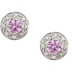 D'Yach 14k White Gold Pink Sapphire and Diamond Earrings