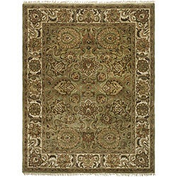 Safavieh Handmade Heirloom Green/ Ivory Wool Rug (7'6 x 9'6)
