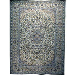 Persian Hand-knotted Ivory Wool Kashan Rug (9'10 x 13) - Thumbnail 0