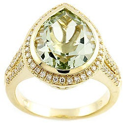 Beverly Hills Charm 14k Gold Green Amethyst and 2/5ct TDW Diamond Ring  (Size 7)