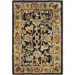 Safavieh Handmade Classic Black/ Gold Wool Rug (2' x 3')