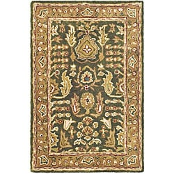 Safavieh Handmade Classic Light Green/ Gold Wool Rug (2' x 3')