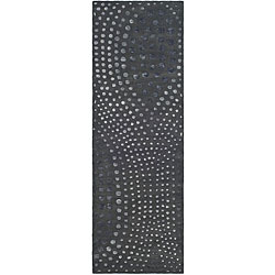 Safavieh Handmade Soho Deco Wave Dark Grey N. Z. Wool Runner (2'6 x 8')
