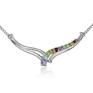 Glitzy Rocks Sterling Silver Multi-gemstone V-style Necklace