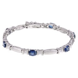 Kabella 14k White Gold Sapphire 2/5ct TDW Diamond Bracelet (G-H, SI2)