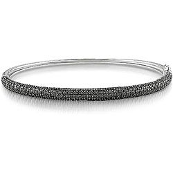 14k White Gold 1ct TDW Black Diamond Bangle Bracelet