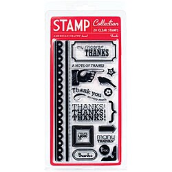 American Crafts 'Thanks' Clear Acrylic Large Stamp Set