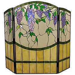 Tiffany-style Wisteria Fireplace Screen