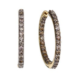 Kabella 14k Yellow Gold 1ct TDW Brown Diamond Hoop Earrings
