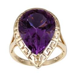 Kabella 14k Yellow Gold 10ct Pear-shaped Amethyst Ring