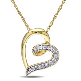 Miadora 10k Yellow Gold Diamond Heart Necklace