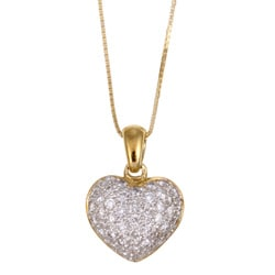 Kabella 18k Yellow Gold 2/5ct TDW Diamond Heart Necklace (H-I, I2-I3)