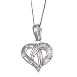 Kabella 18k White Gold 2/5ct TDW Diamond Heart Enhancer Necklace (I-J, I3)