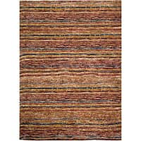 "Safavieh Hand-knotted All-Natural Striped Red/ Multi Runner - 2'-6"" x 10'"