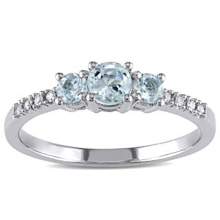 Miadora 10k White Gold Aquamarine and Diamond Ring (H-I,I2-I3) (More options available)