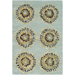 Safavieh Handmade Deco Explosions Light Blue N. Z. Wool Rug (2' x 3')