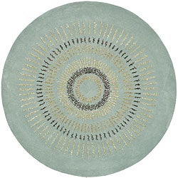 Safavieh Handmade Explosions Light Blue/ Multi N. Z. Wool Rug (4' Round)