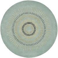 Safavieh Handmade Explosions Light Blue/ Multi N. Z. Wool Rug - 4' Round