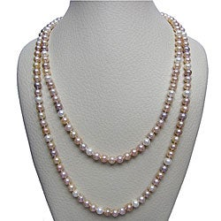 Multi-colored Pink Freshwater Pearl 48-inch Endless Necklace (7-7.5 mm)
