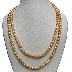 """DaVonna 7-8mm Gold Freshwater Pearl Endless Necklace, 72"""""""