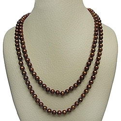 DaVonna 7-8mm Chocolate Freshwater Pearl Endless Necklace, 72""