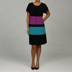 Tiana B. Women's Plus Size Colorblock Jersey Dress - Thumbnail 0