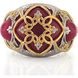 Michael Valitutti Palladium Silver/ 18k Vermeil Red Jade and Sapphire Ring