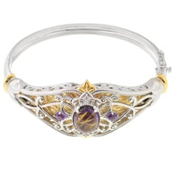 Michael Valitutti Two-tone Lapis/ Amethyst/ Sapphire Bangle Bracelet