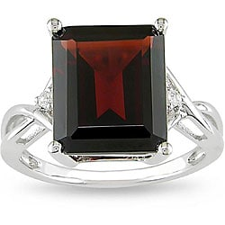 Miadora Sterling Silver Garnet and White Topaz Ring