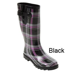 Bamboo by Journee Women's Plaid Rain Boots - Free Shipping On ...