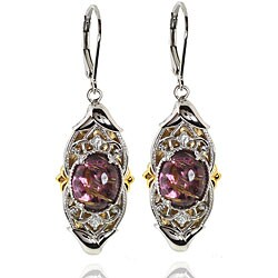 Michael Valitutti Palladium Silver/ 18k Vermeil Amethyst and Rutilated Quartz Earrings