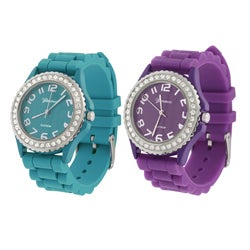 Geneva Platinum Women's Cubic Zirconia Silicon Strap Watch