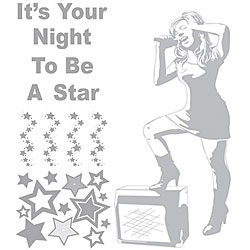 Rock Star and Phrases Sudden Shadows Wall Decal Set